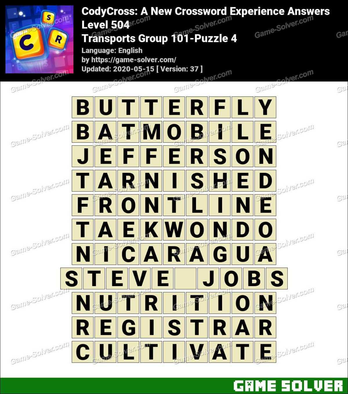 CodyCross Transports Group 101-Puzzle 4 Answers