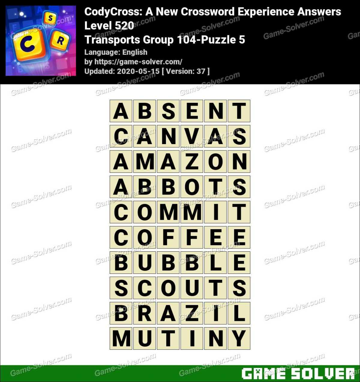 CodyCross Transports Group 104-Puzzle 5 Answers
