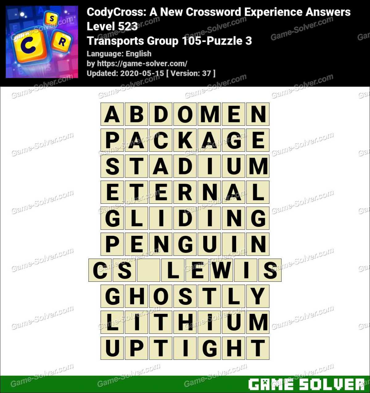 CodyCross Transports Group 105-Puzzle 3 Answers
