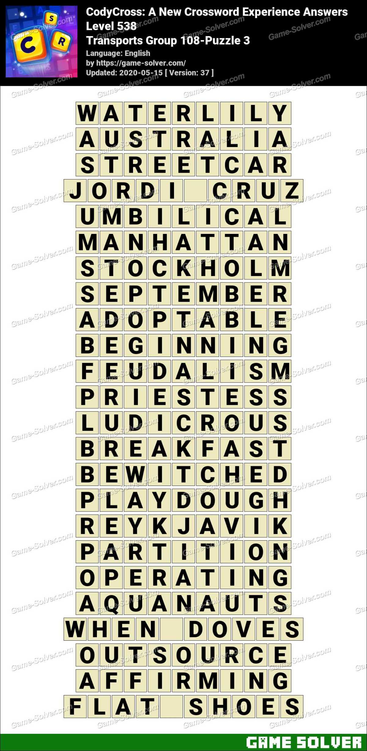 CodyCross Transports Group 108-Puzzle 3 Answers
