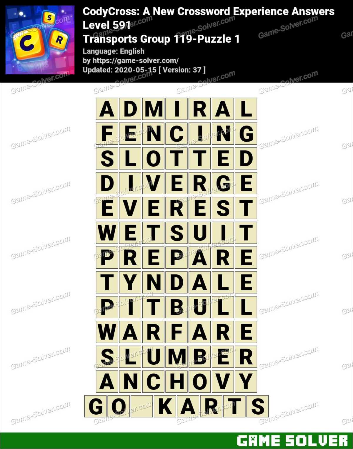 CodyCross Transports Group 119-Puzzle 1 Answers