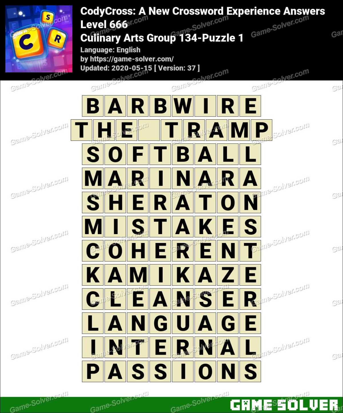 CodyCross Culinary Arts Group 134-Puzzle 1 Answers
