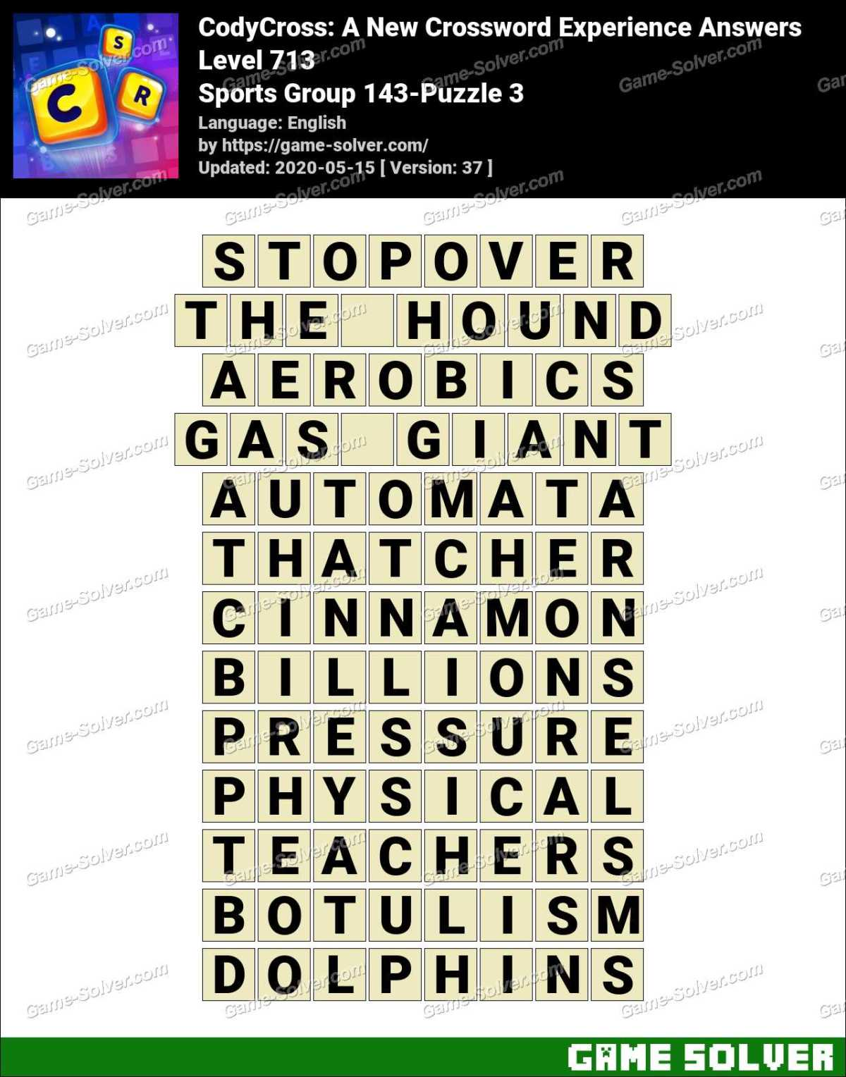 CodyCross Sports Group 143-Puzzle 3 Answers
