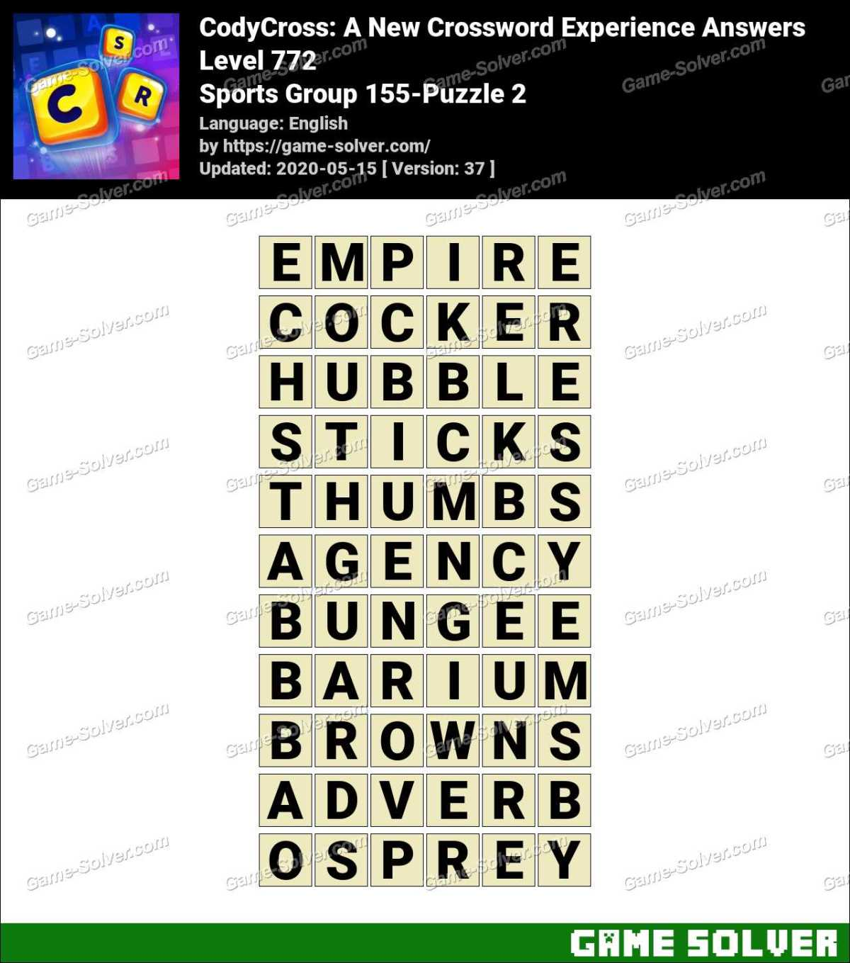CodyCross Sports Group 155-Puzzle 2 Answers