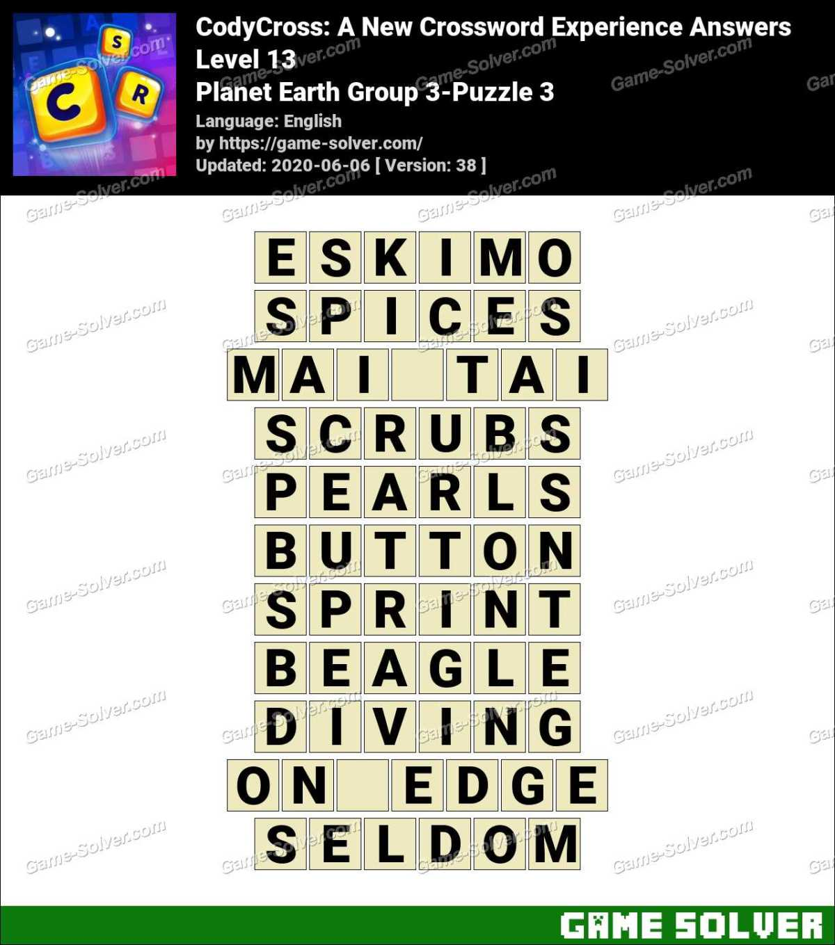 CodyCross Planet Earth Group 3-Puzzle 3 Answers