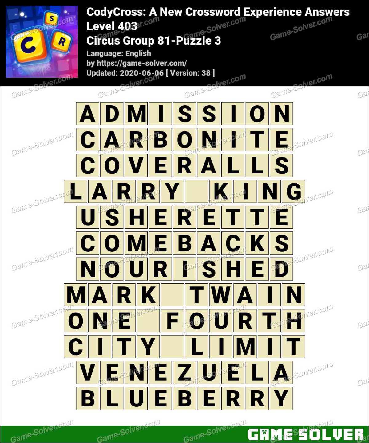 CodyCross Circus Group 81-Puzzle 3 Answers