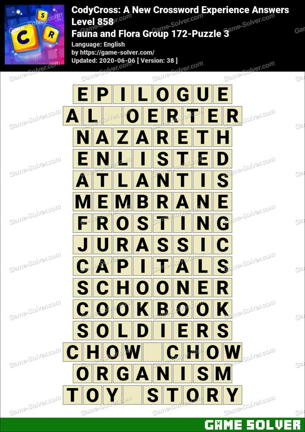 CodyCross Fauna and Flora Group 172-Puzzle 3 Answers