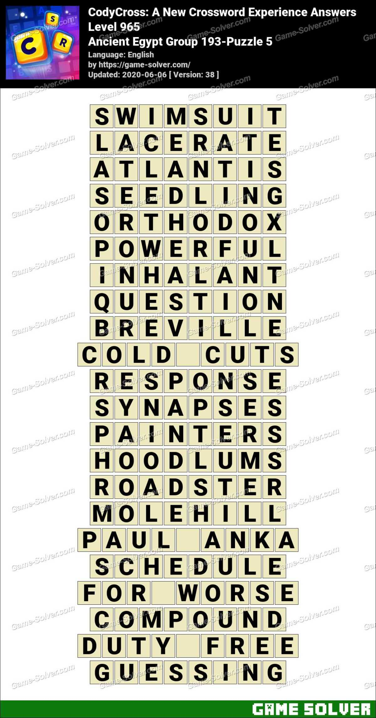 CodyCross Ancient Egypt Group 193-Puzzle 5 Answers