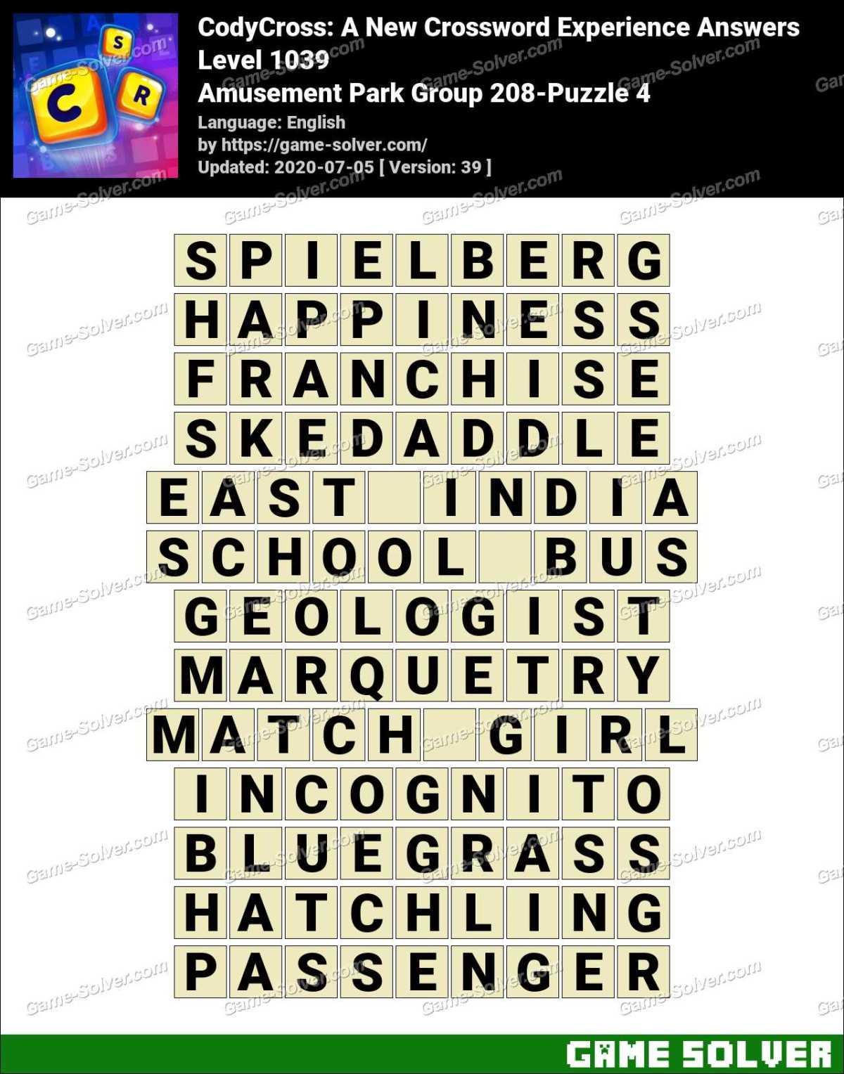 CodyCross Amusement Park Group 208-Puzzle 4 Answers