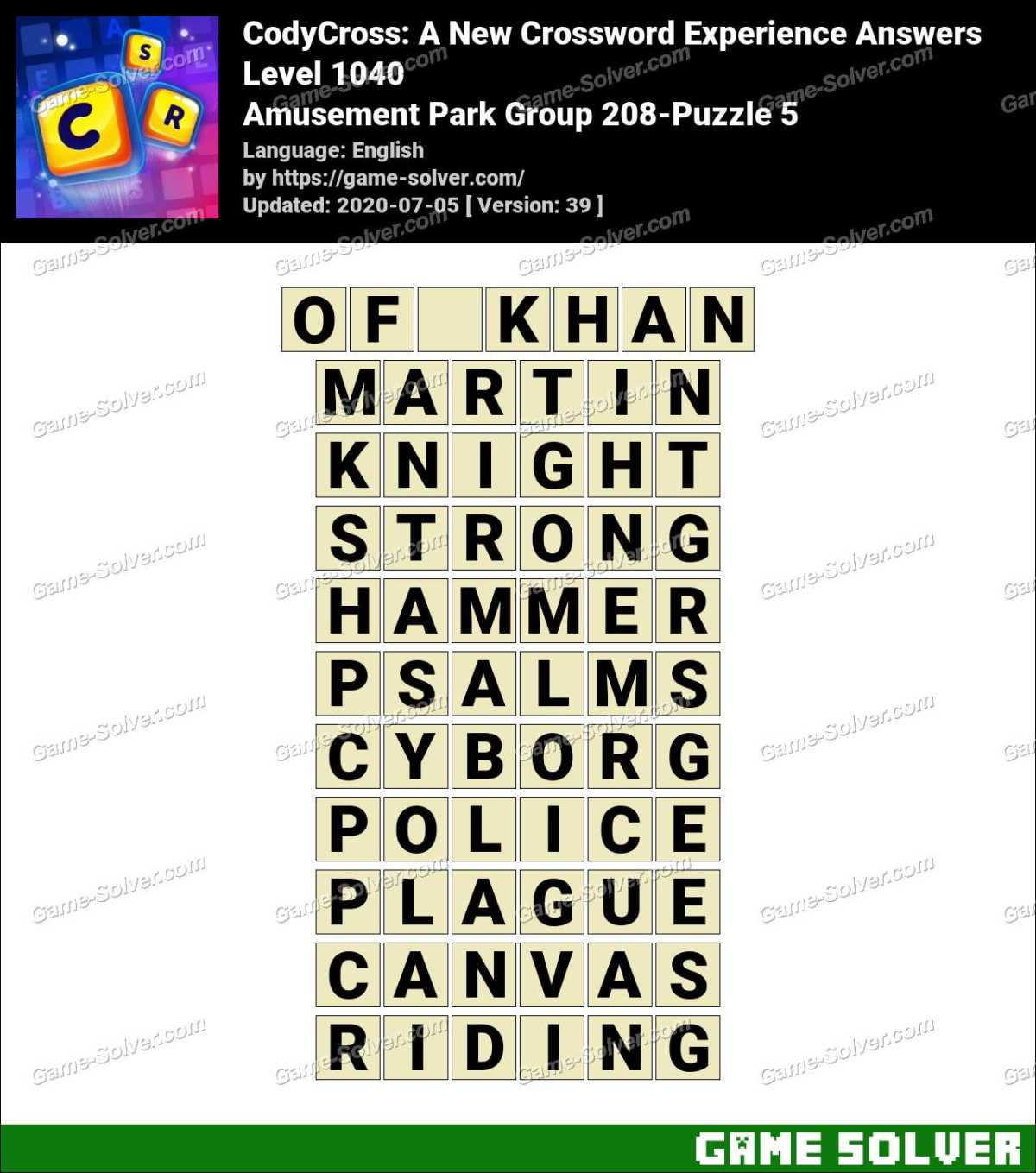 CodyCross Amusement Park Group 208-Puzzle 5 Answers