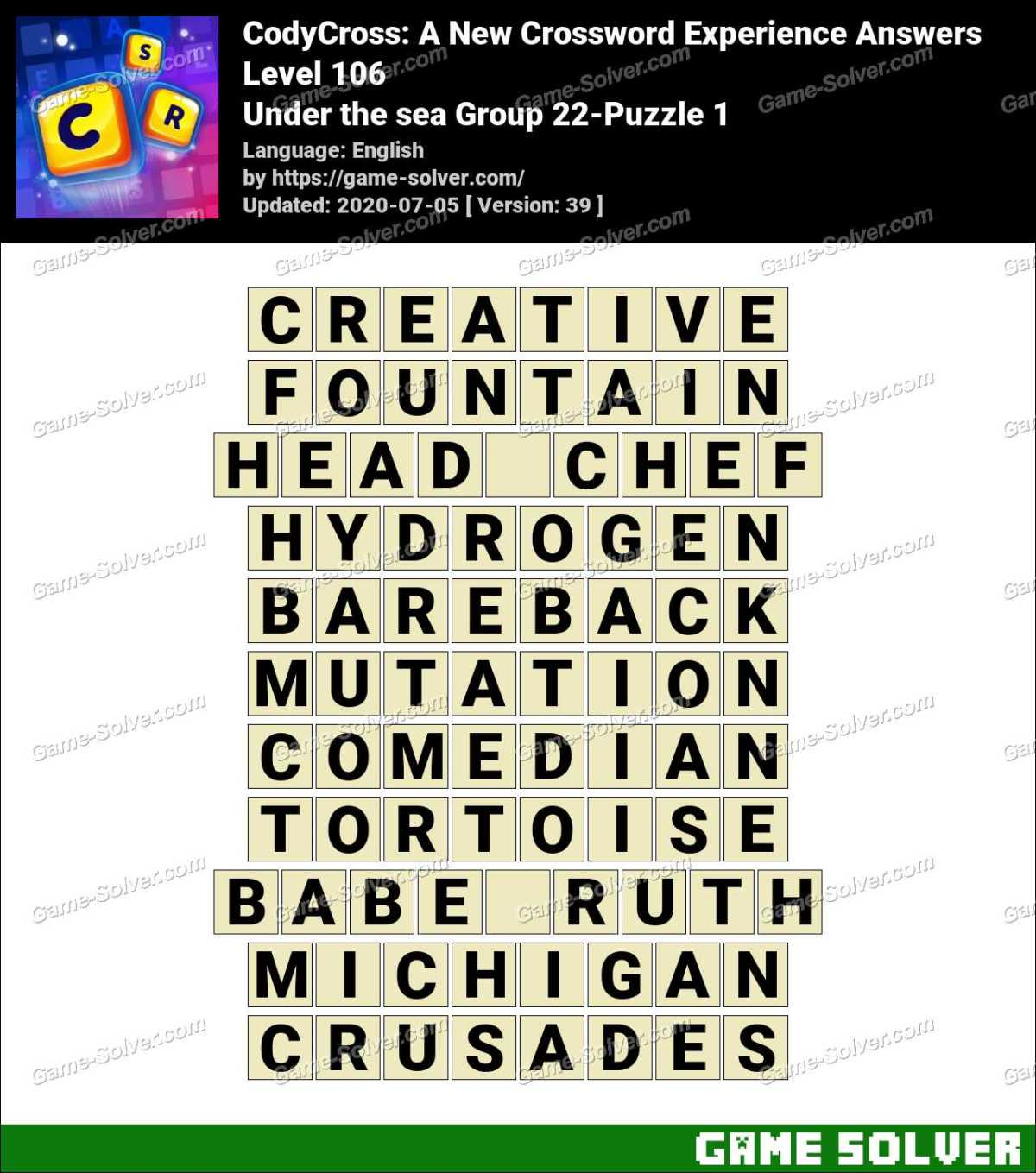 CodyCross Under the sea Group 22-Puzzle 1 Answers