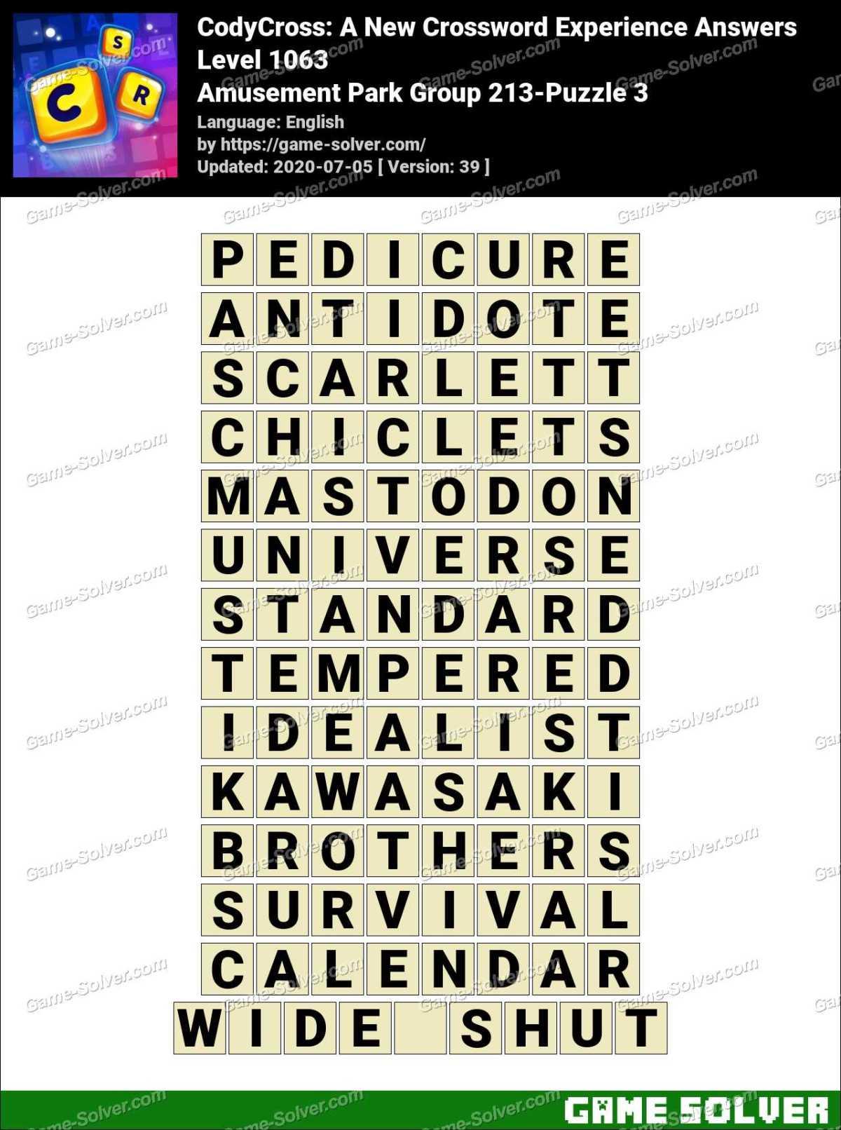 CodyCross Amusement Park Group 213-Puzzle 3 Answers