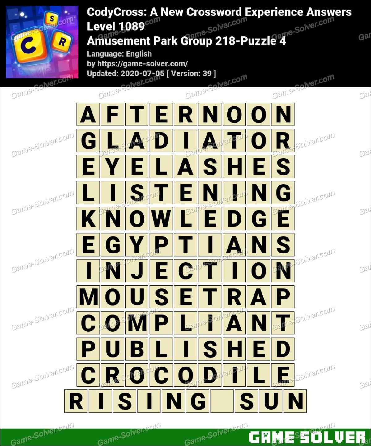 CodyCross Amusement Park Group 218-Puzzle 4 Answers
