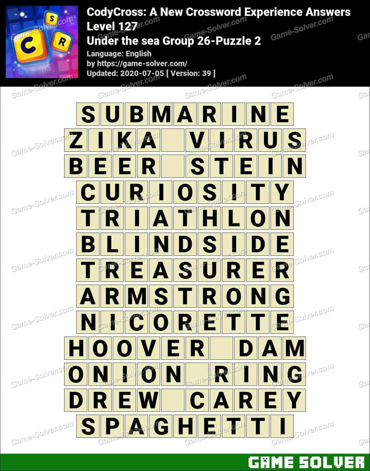 CodyCross Under the sea Group 26-Puzzle 2 Answers