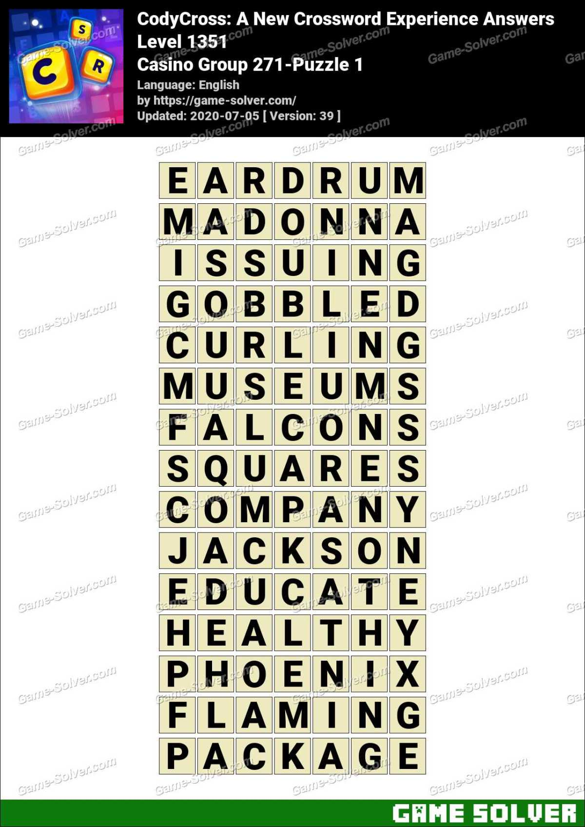 Casino Game Crossword Clue