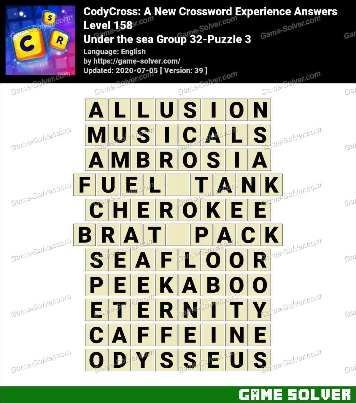 CodyCross Under the sea Group 32-Puzzle 3 Answers