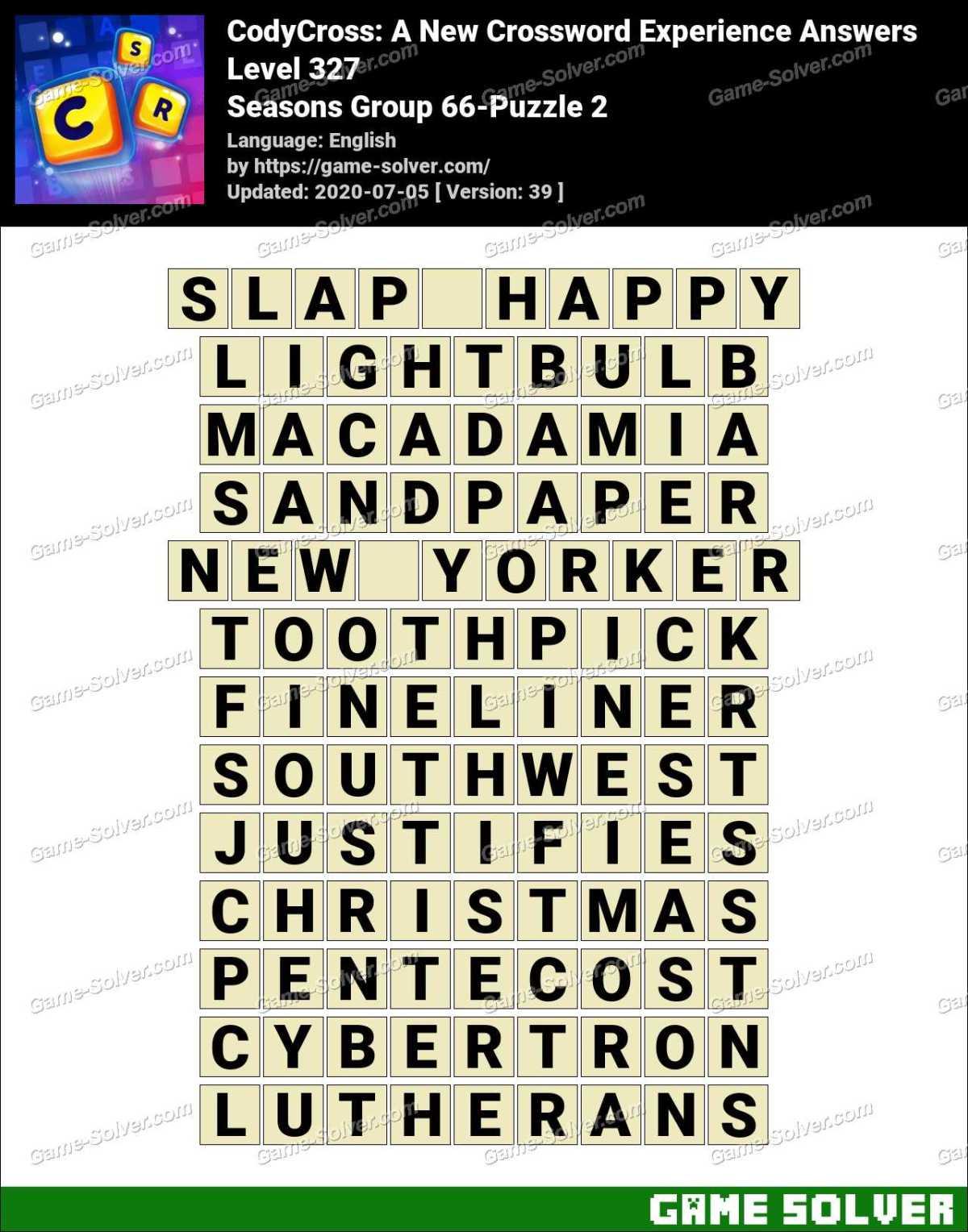 CodyCross Seasons Group 66-Puzzle 2 Answers