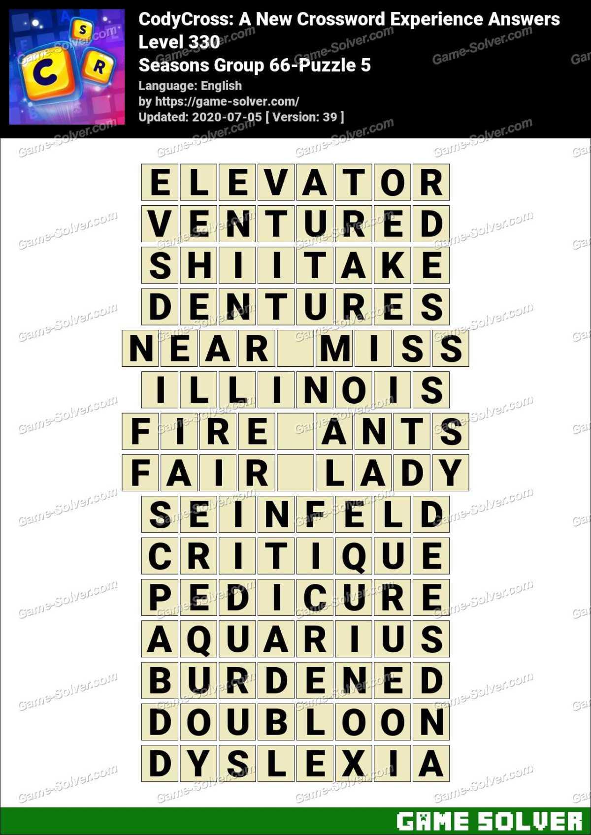 CodyCross Seasons Group 66-Puzzle 5 Answers