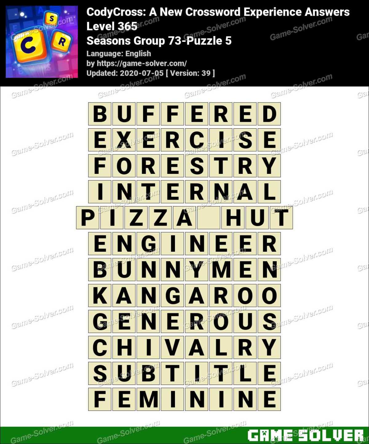 CodyCross Seasons Group 73-Puzzle 5 Answers