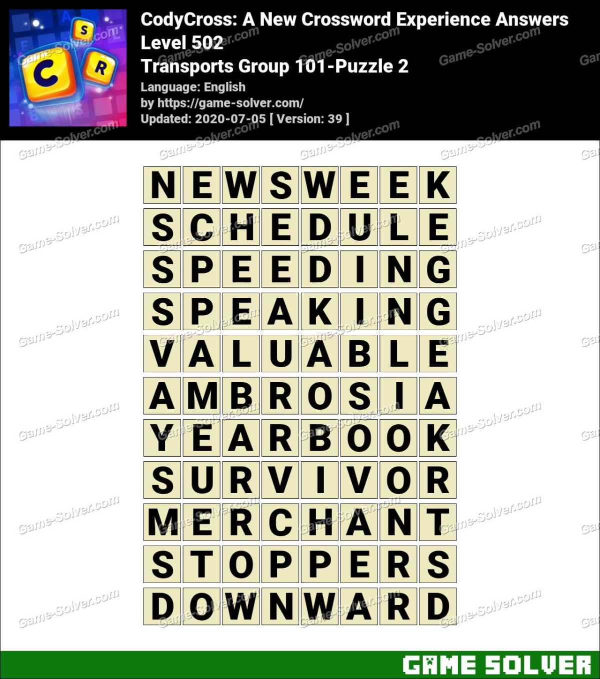 CodyCross Transports Group 101-Puzzle 2 Answers