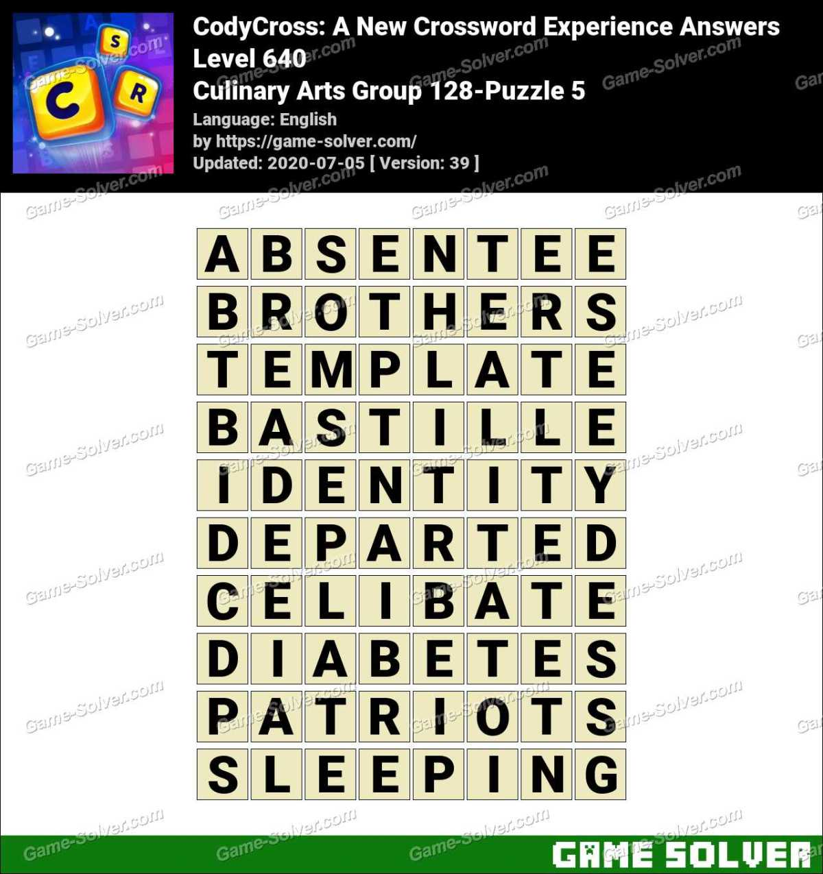 CodyCross Culinary Arts Group 128-Puzzle 5 Answers