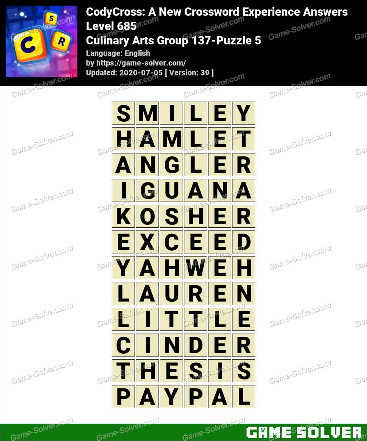 CodyCross Culinary Arts Group 137-Puzzle 5 Answers
