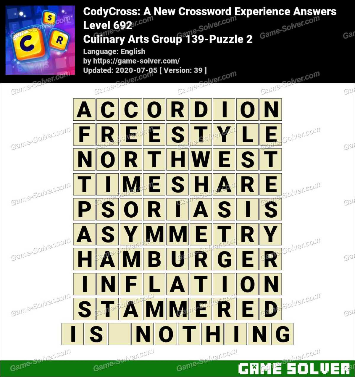 CodyCross Culinary Arts Group 139-Puzzle 2 Answers