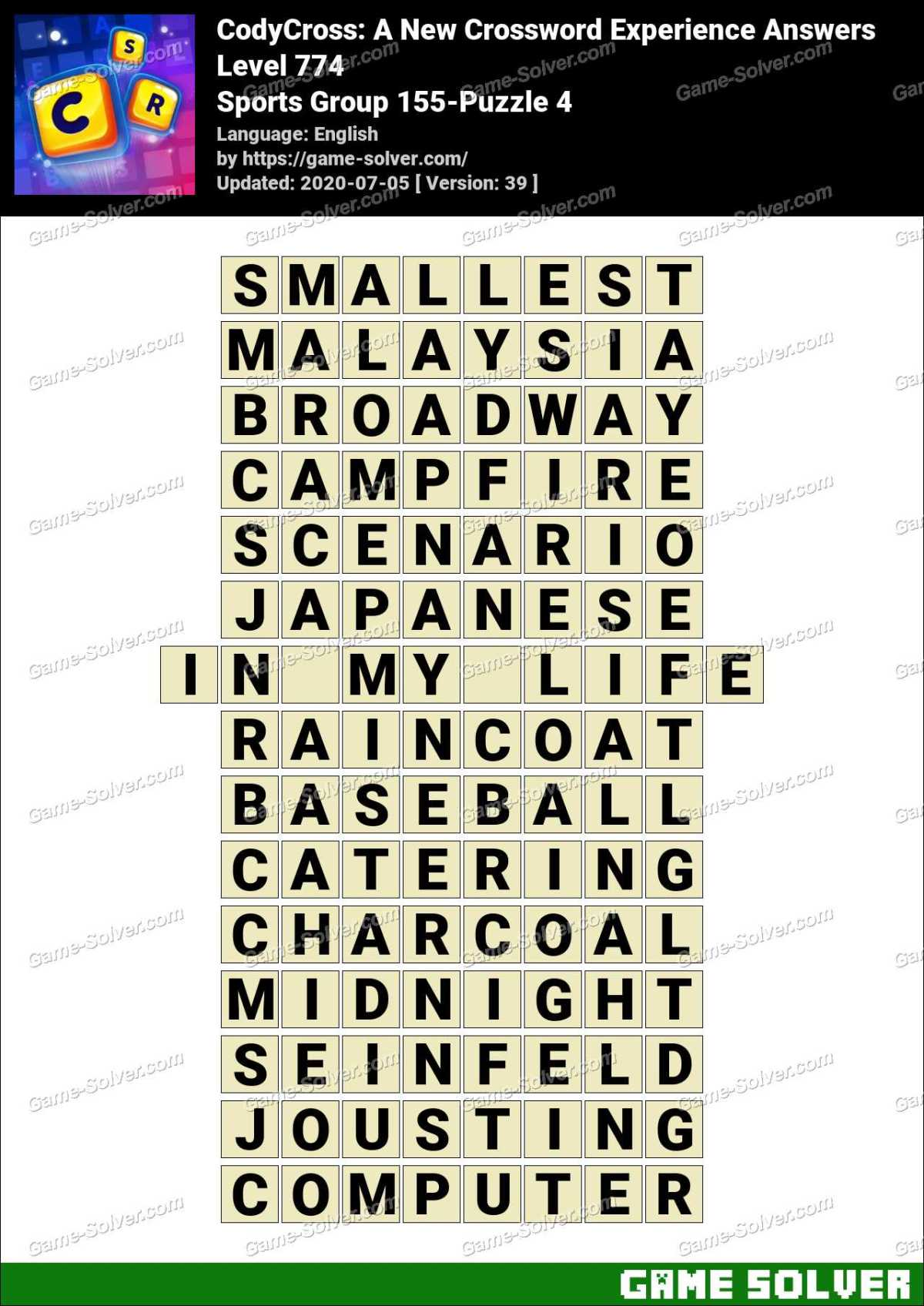 CodyCross Sports Group 155-Puzzle 4 Answers