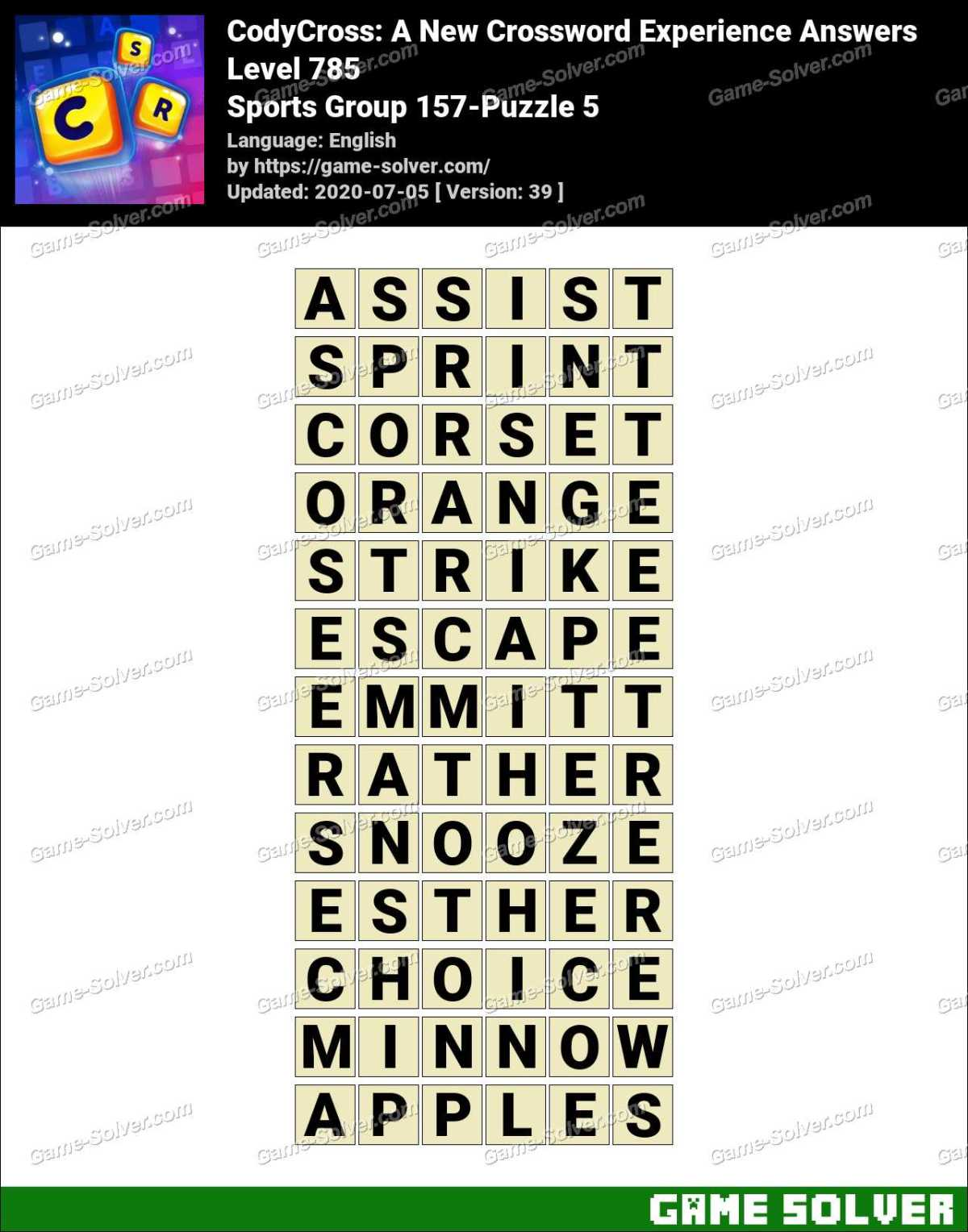 CodyCross Sports Group 157-Puzzle 5 Answers