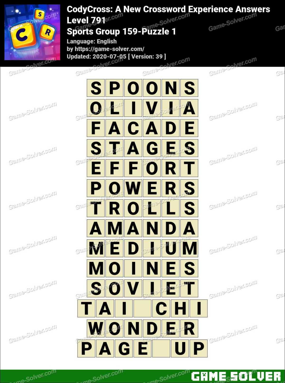 CodyCross Sports Group 159-Puzzle 1 Answers