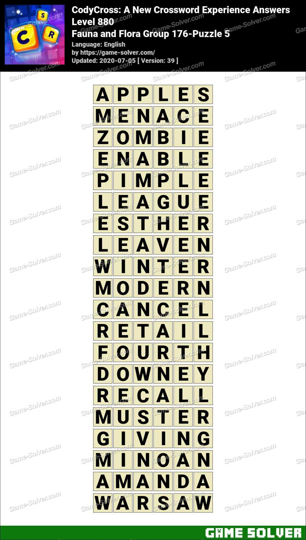 CodyCross Fauna and Flora Group 176-Puzzle 5 Answers