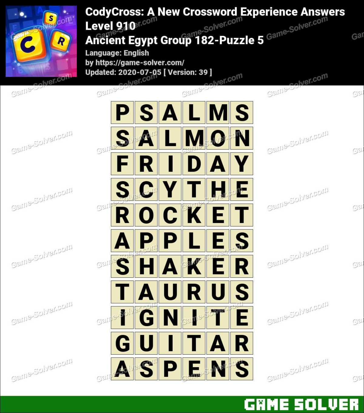 CodyCross Ancient Egypt Group 182-Puzzle 5 Answers