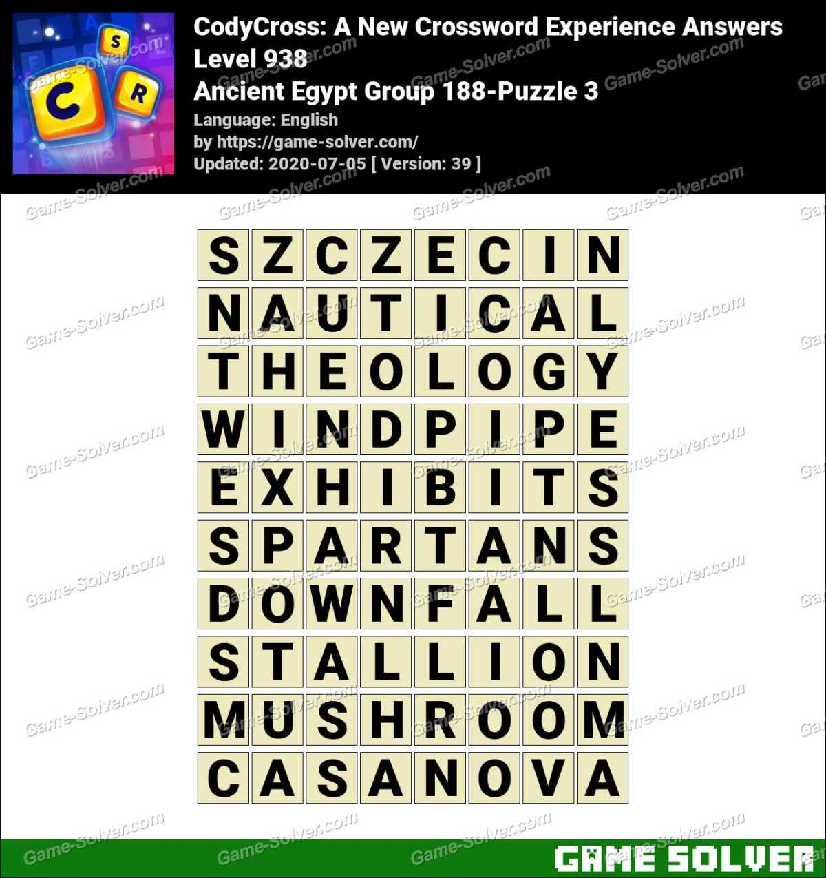 CodyCross Ancient Egypt Group 188-Puzzle 3 Answers