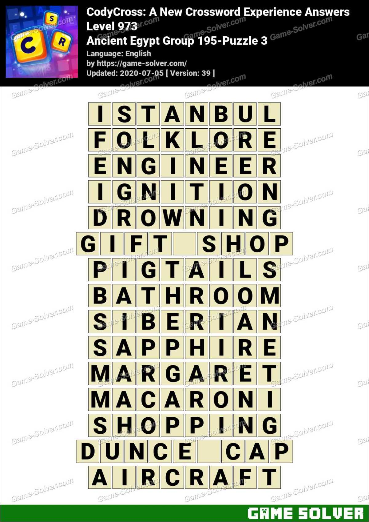 CodyCross Ancient Egypt Group 195-Puzzle 3 Answers