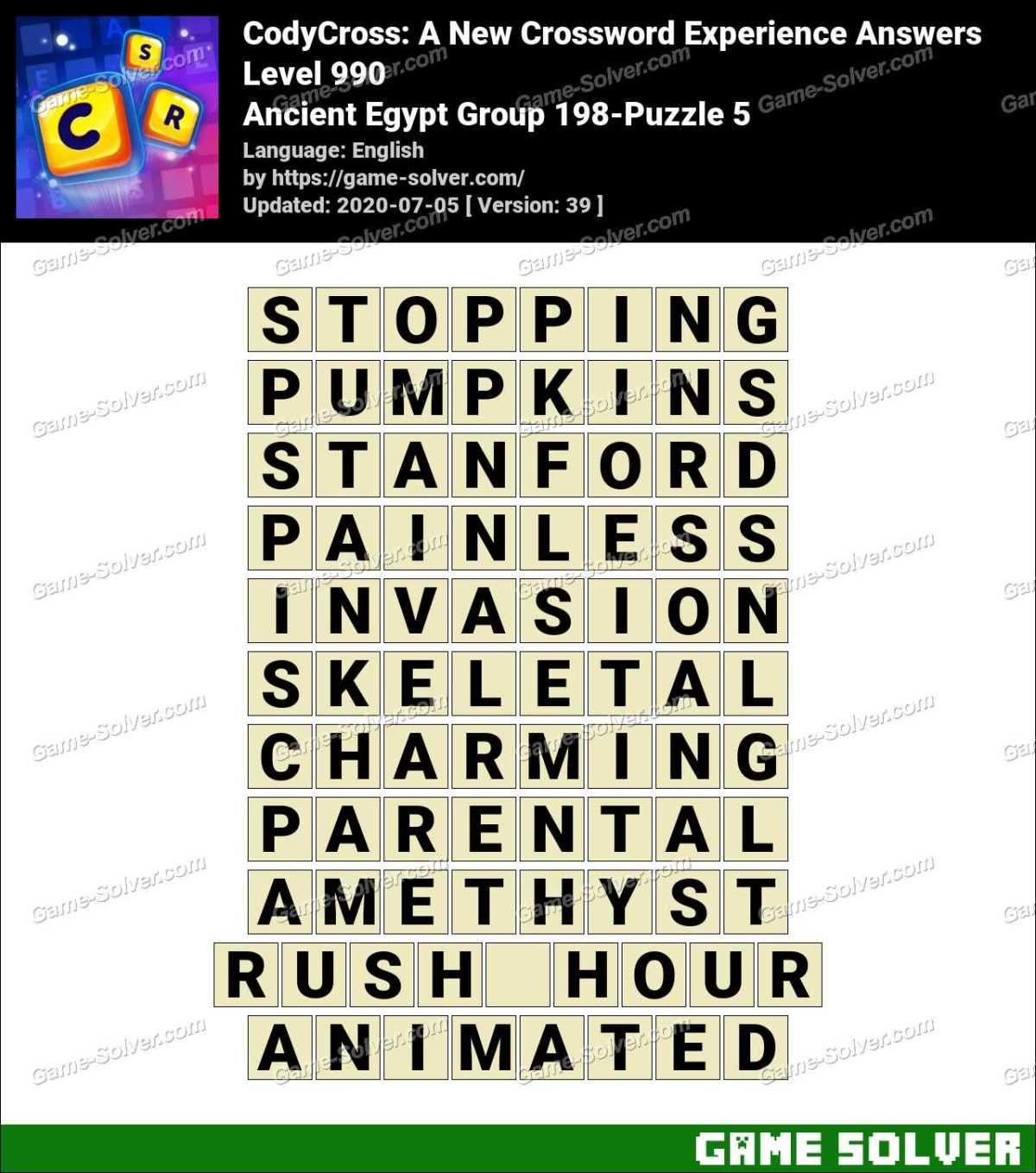 CodyCross Ancient Egypt Group 198-Puzzle 5 Answers