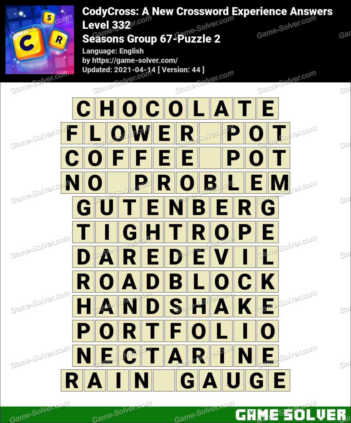 CodyCross Seasons Group 67-Puzzle 2 Answers