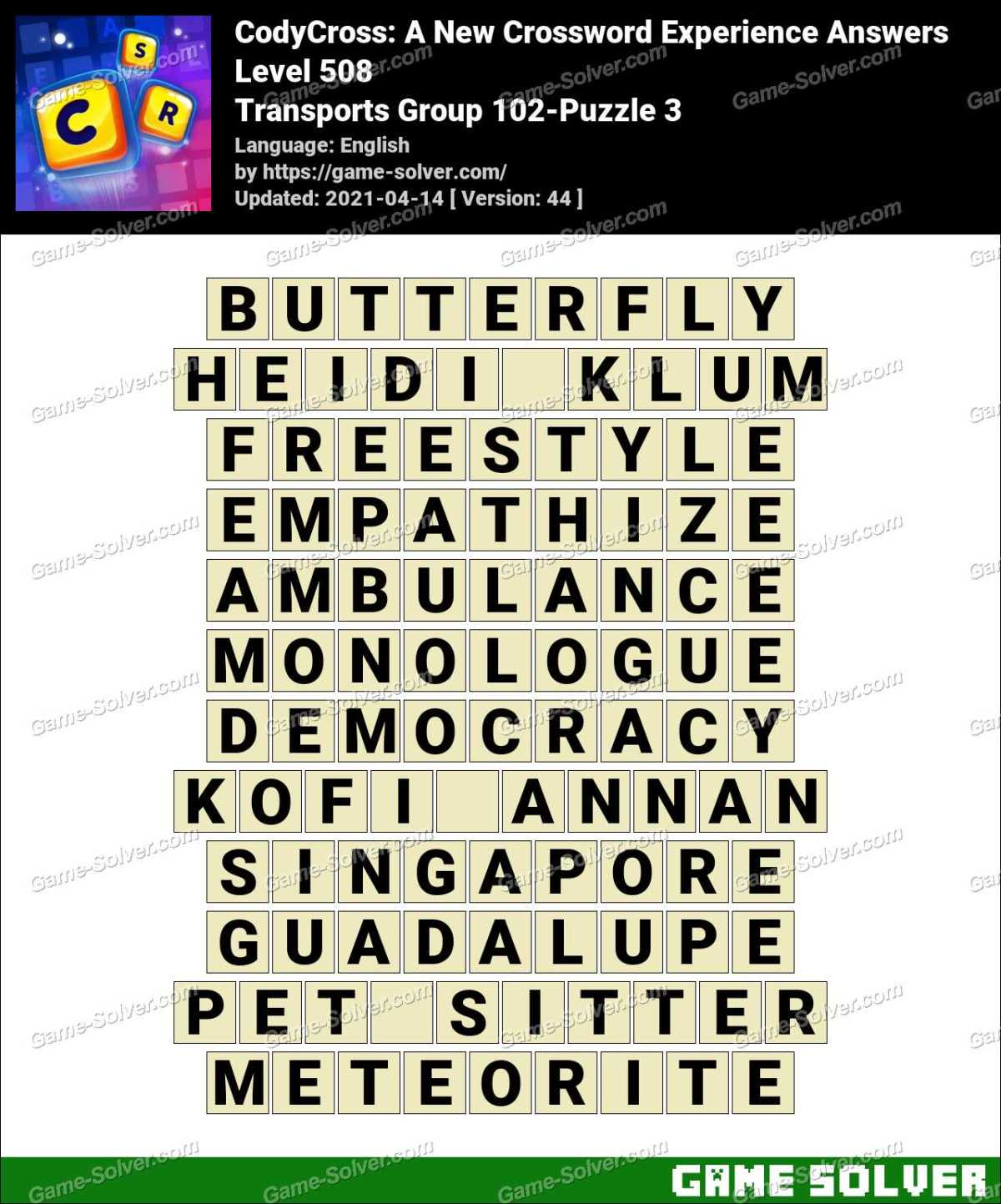 CodyCross Transports Group 102-Puzzle 3 Answers
