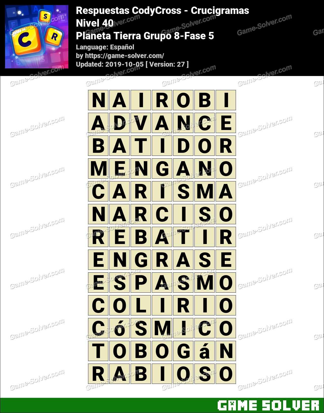 Respuestas CodyCross Planeta Tierra Grupo 8-Fase 5