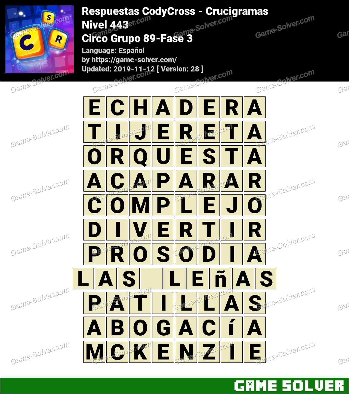 Respuestas CodyCross Circo Grupo 89-Fase 3