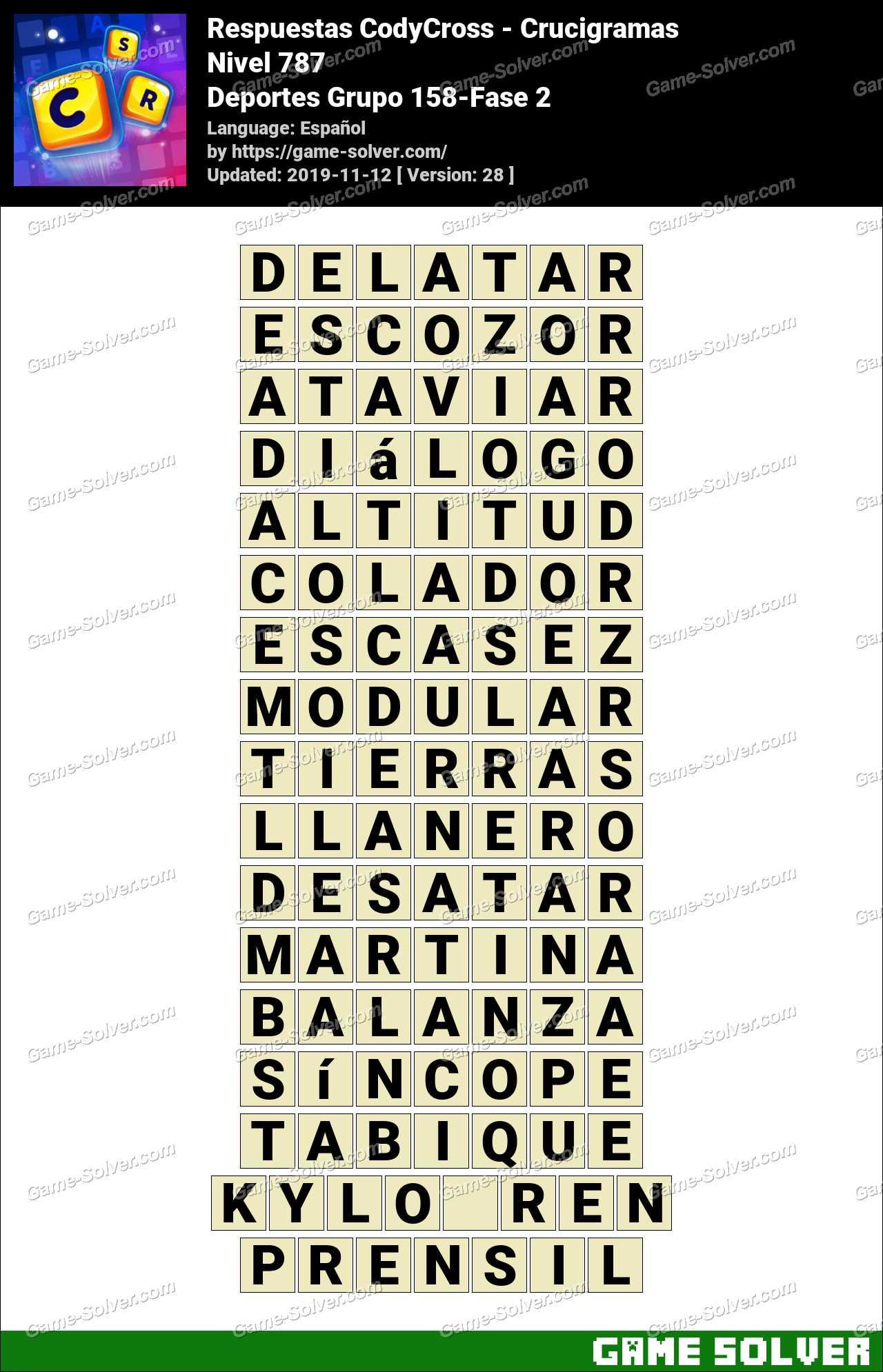 Respuestas CodyCross Deportes Grupo 158-Fase 2