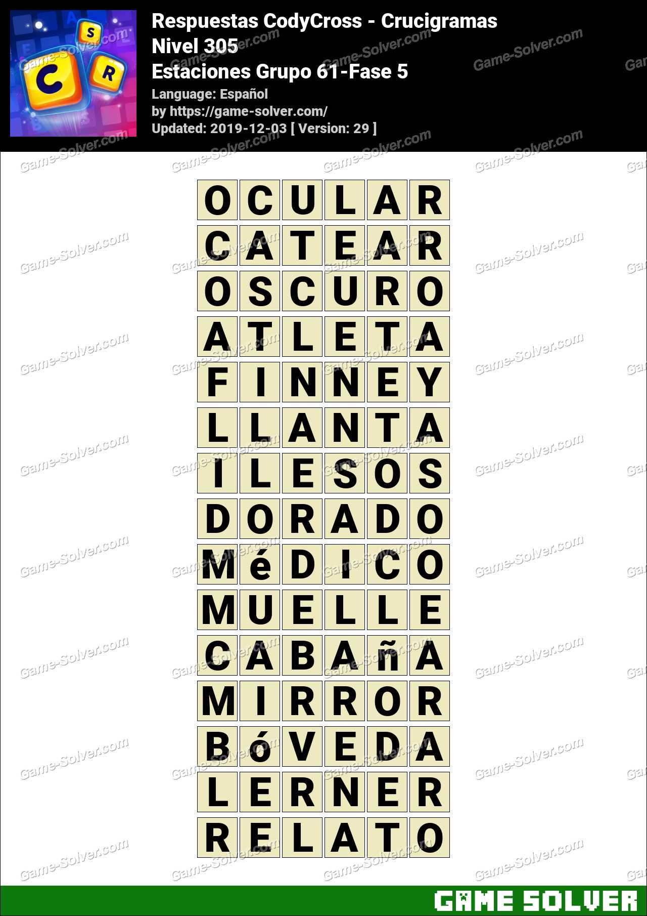 Respuestas CodyCross Estaciones Grupo 61-Fase 5