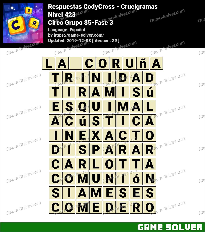 Respuestas CodyCross Circo Grupo 85-Fase 3