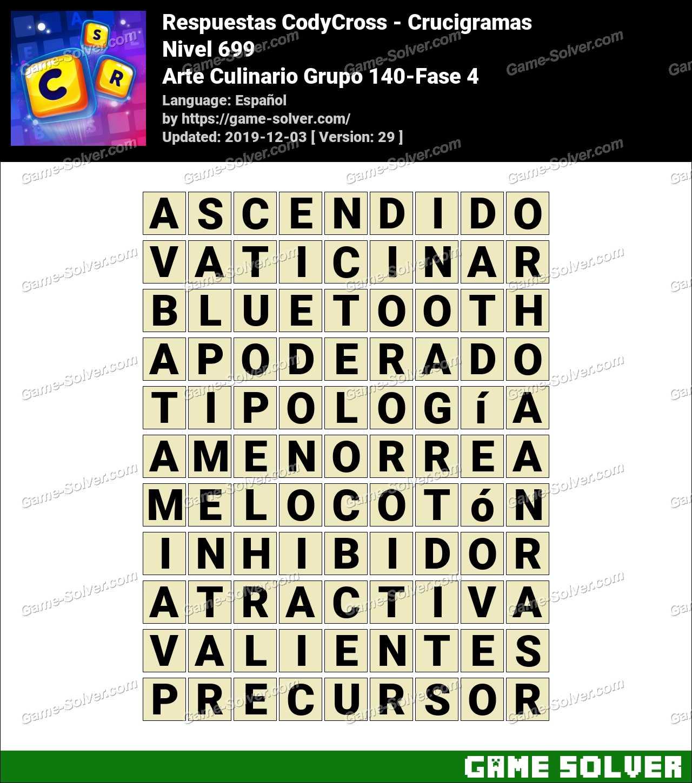 Respuestas CodyCross Arte Culinario Grupo 140-Fase 4