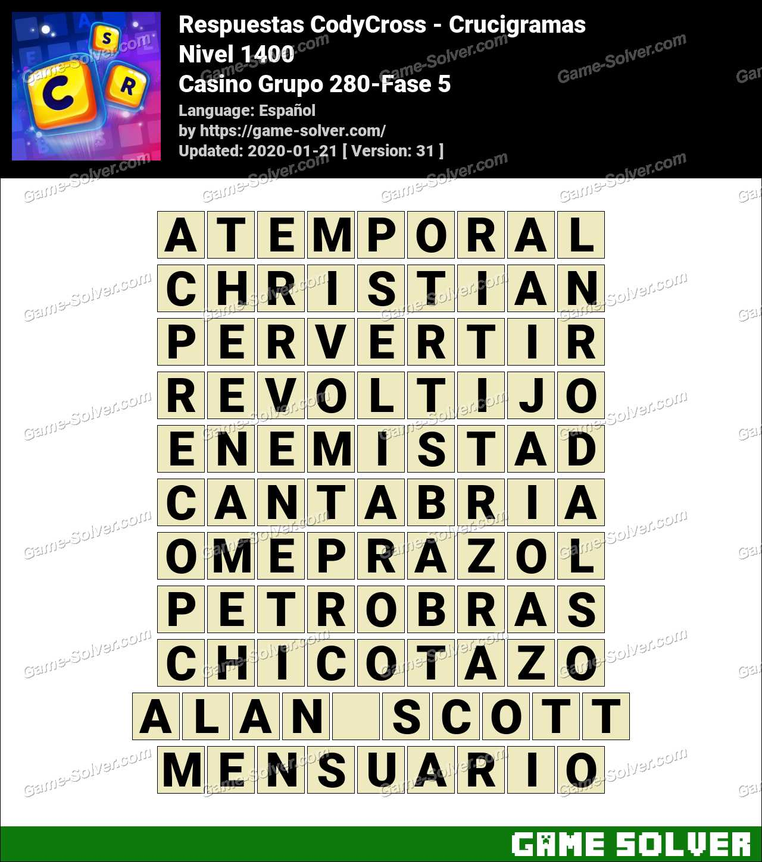 Respuestas CodyCross Casino Grupo 280-Fase 5
