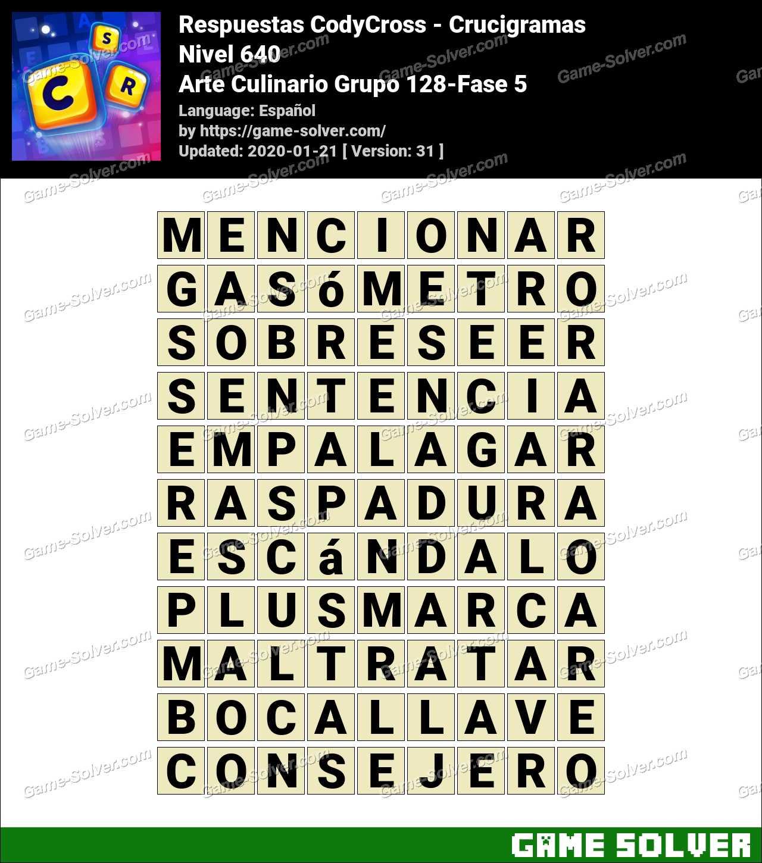 Respuestas CodyCross Arte Culinario Grupo 128-Fase 5