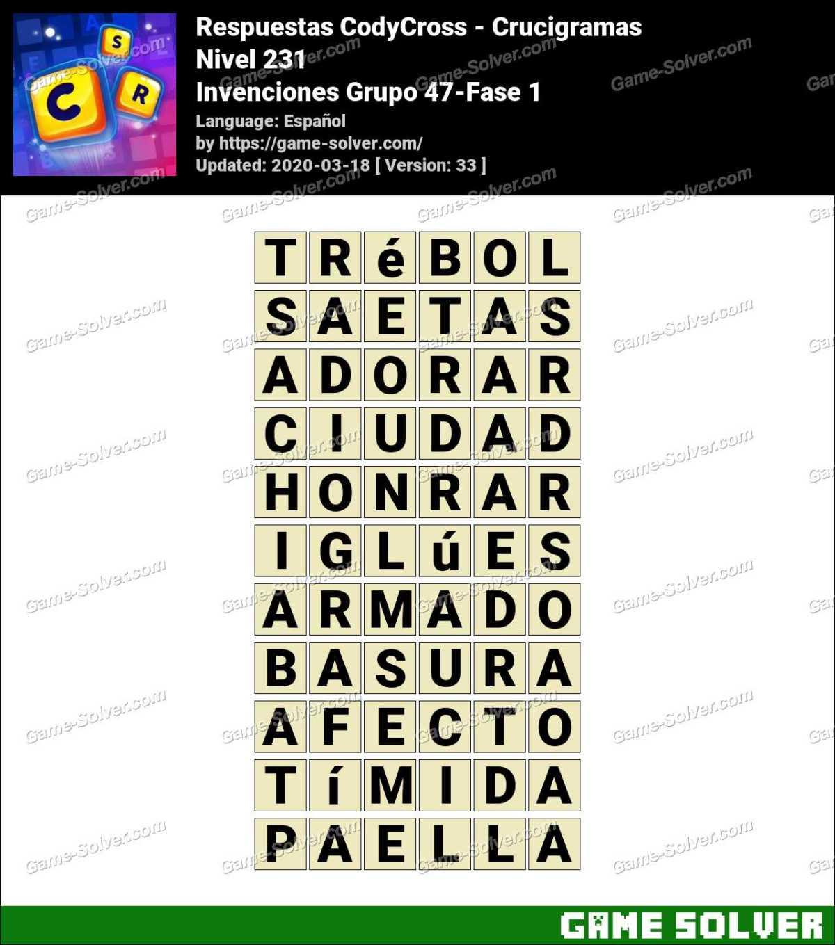 Respuestas CodyCross Invenciones Grupo 47-Fase 1