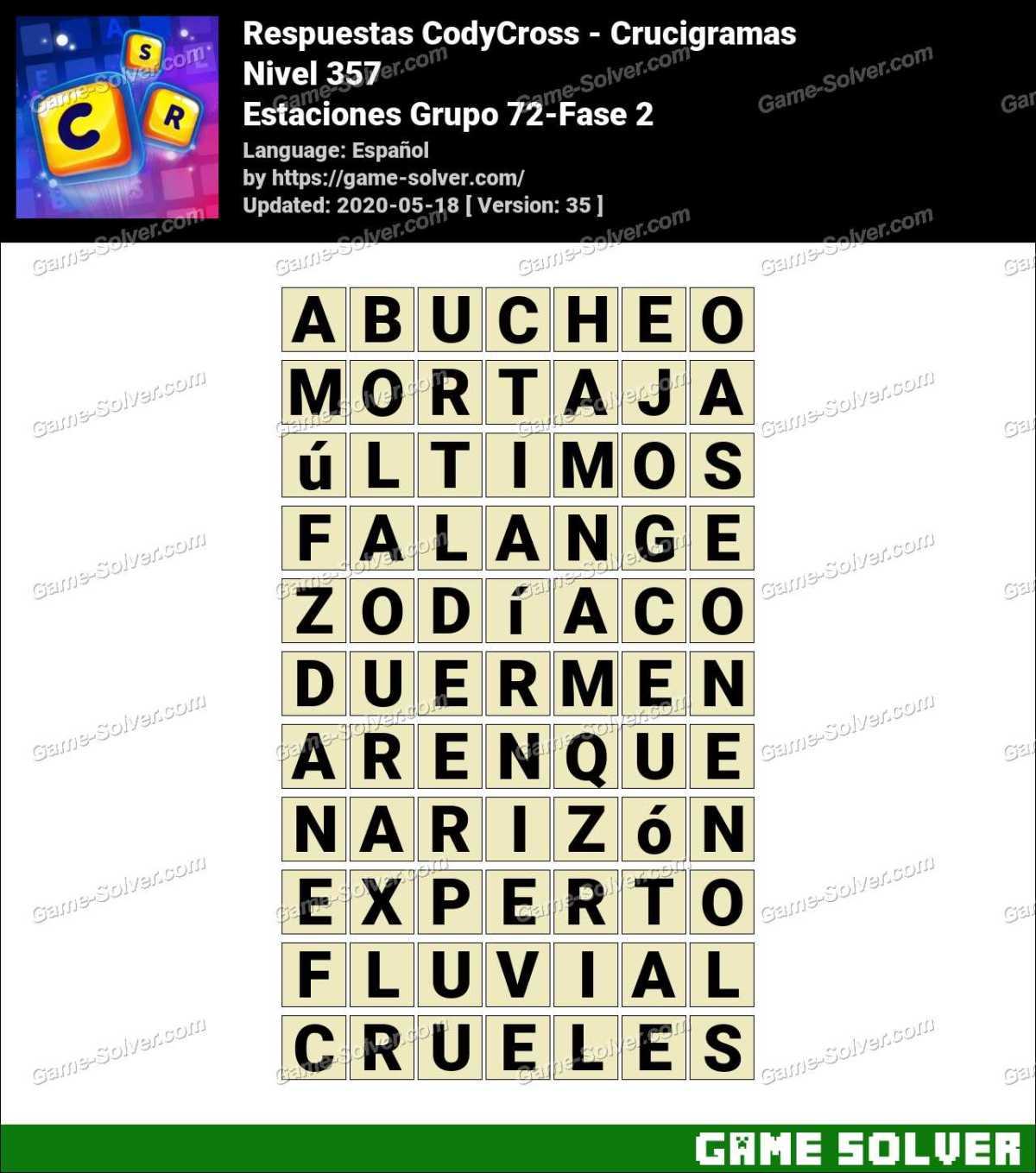 Respuestas CodyCross Estaciones Grupo 72-Fase 2