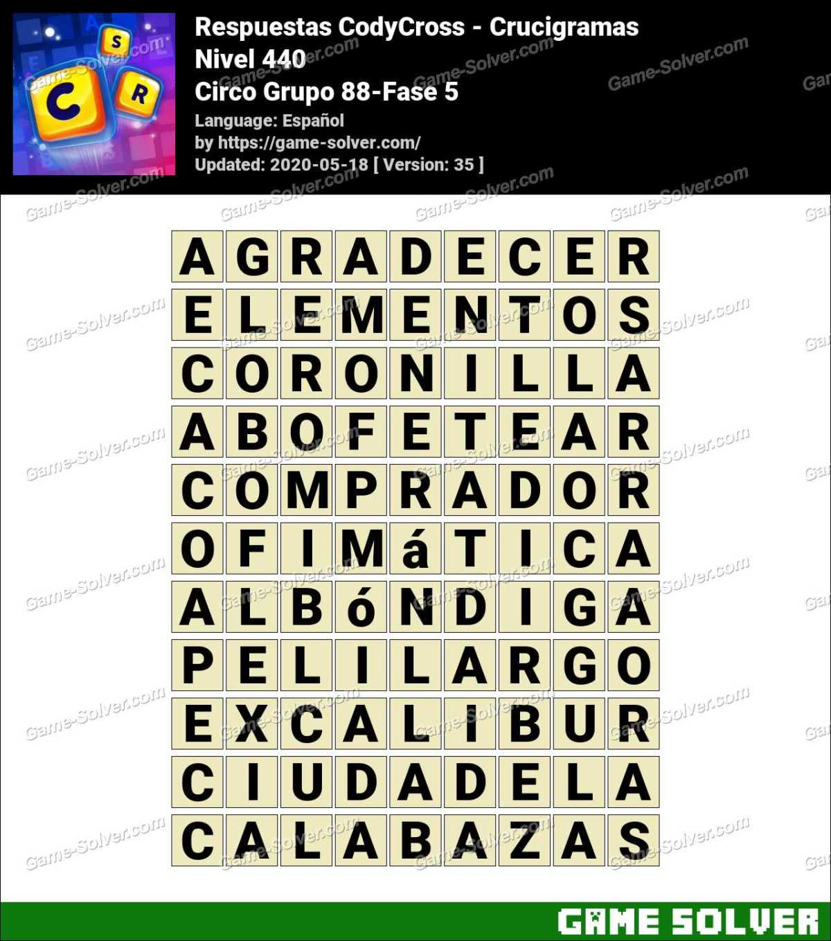 Respuestas CodyCross Circo Grupo 88-Fase 5