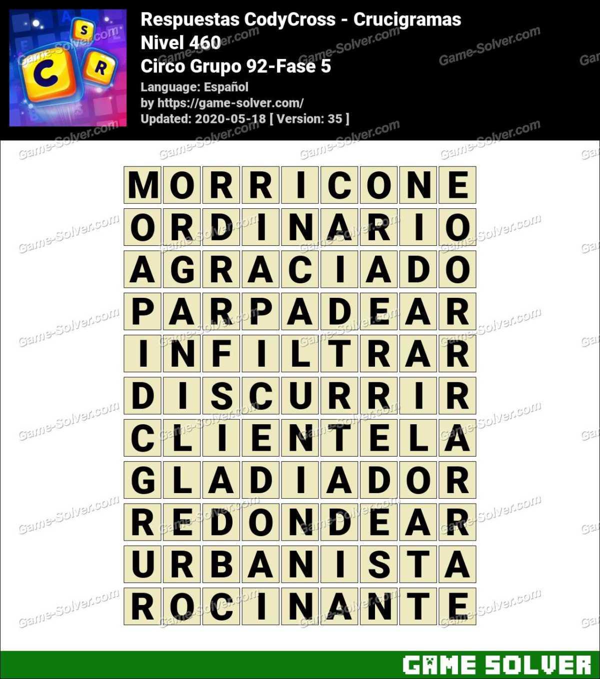 Respuestas CodyCross Circo Grupo 92-Fase 5