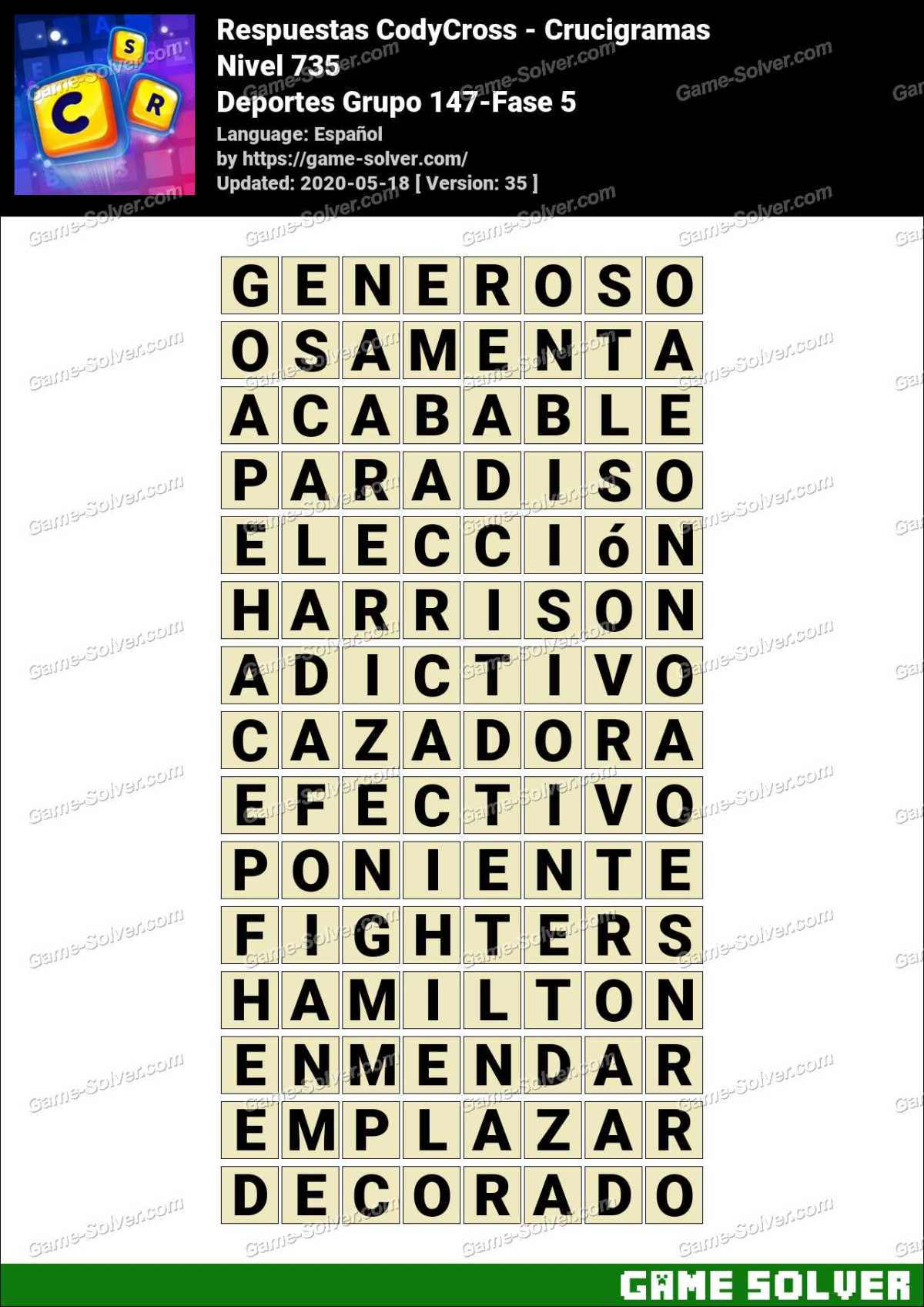 Respuestas CodyCross Deportes Grupo 147-Fase 5